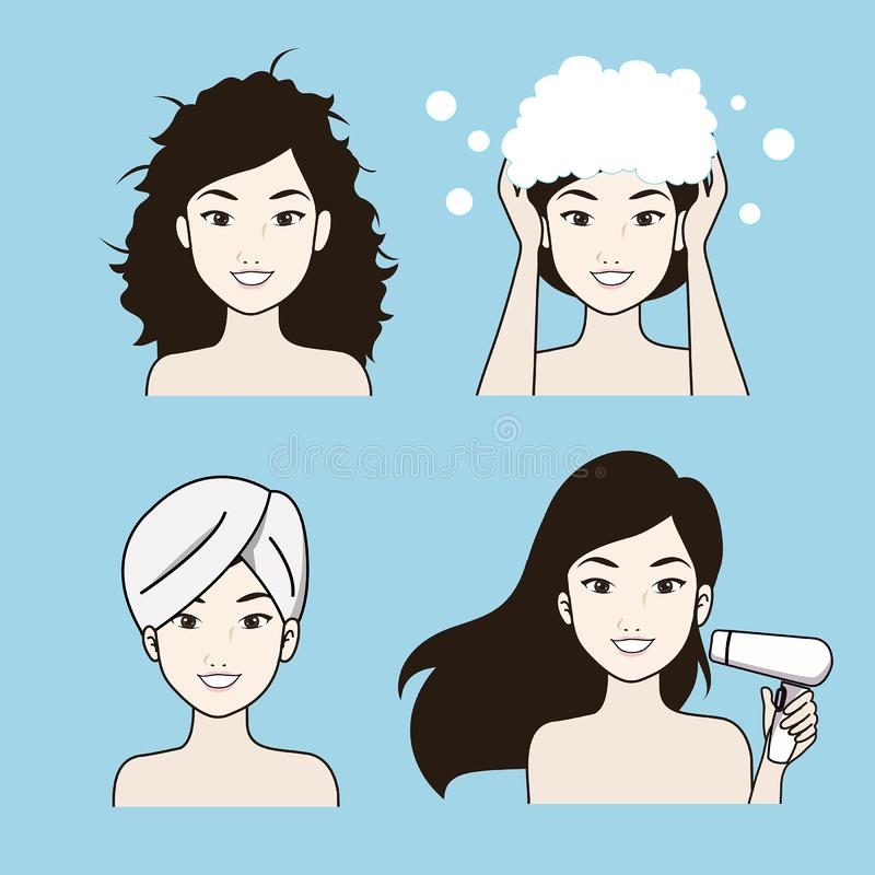 El cuidado del cabello del procedimiento de la mujer hermosa ilustración del vector