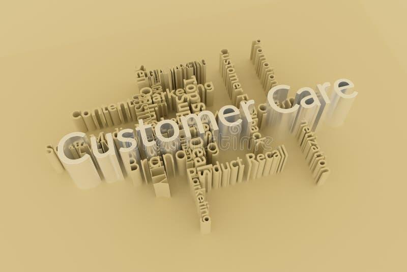 El cuidado del cliente, las palabras de comercialización de la palabra clave se nubla Para la p?gina web, el dise?o gr?fico, la t stock de ilustración