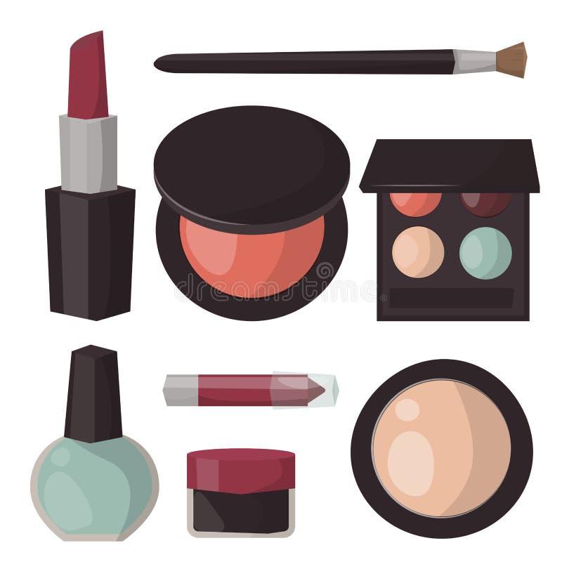 El cuidado del rimel del perfume de los iconos del maquillaje cepilla vector accesorio femenino hecho frente peine del encanto de libre illustration
