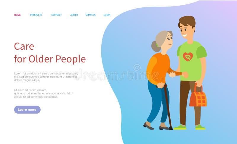 El cuidado para una más vieja gente, se ofrece voluntariamente con la señora mayor libre illustration