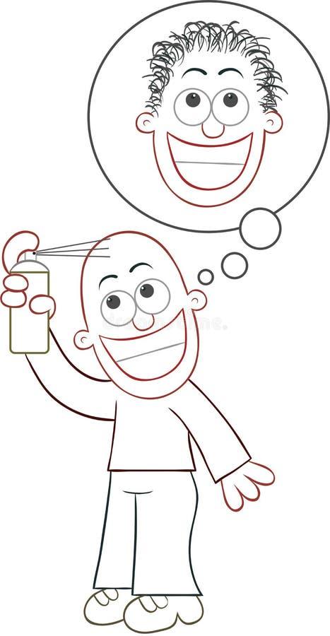 El cultivador de rociadura esperanzado del pelo dará una cabeza melenuda ilustración del vector