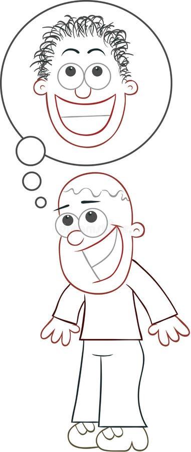 El cultivador esperanzado del pelo dará una cabeza melenuda libre illustration