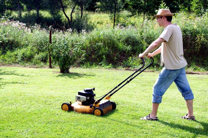 El cultivar un huerto - cortar la hierba fotografía de archivo
