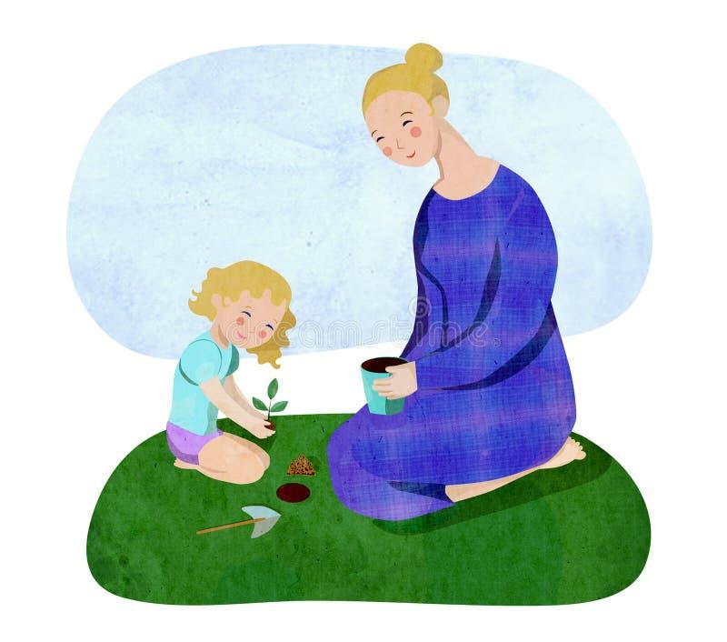 El cultivar un huerto de la madre y de la hija ilustración del vector
