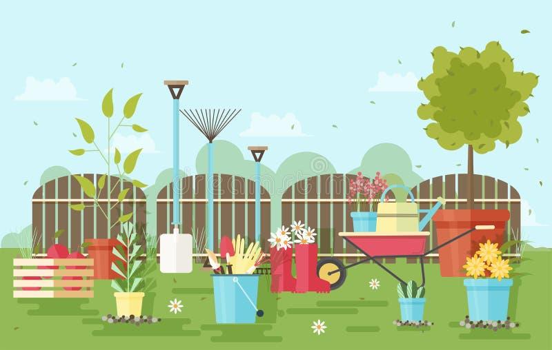 El cultivar un huerto y equipo y herramientas de la agricultura contra la cerca y las plantas de jardín de madera en el fondo - c ilustración del vector