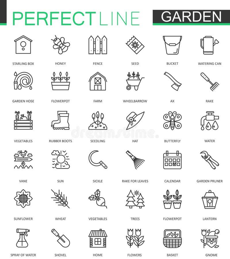 El cultivar un huerto y la flor alinea ligeramente los iconos del web fijados Diseño del icono del movimiento del esquema stock de ilustración