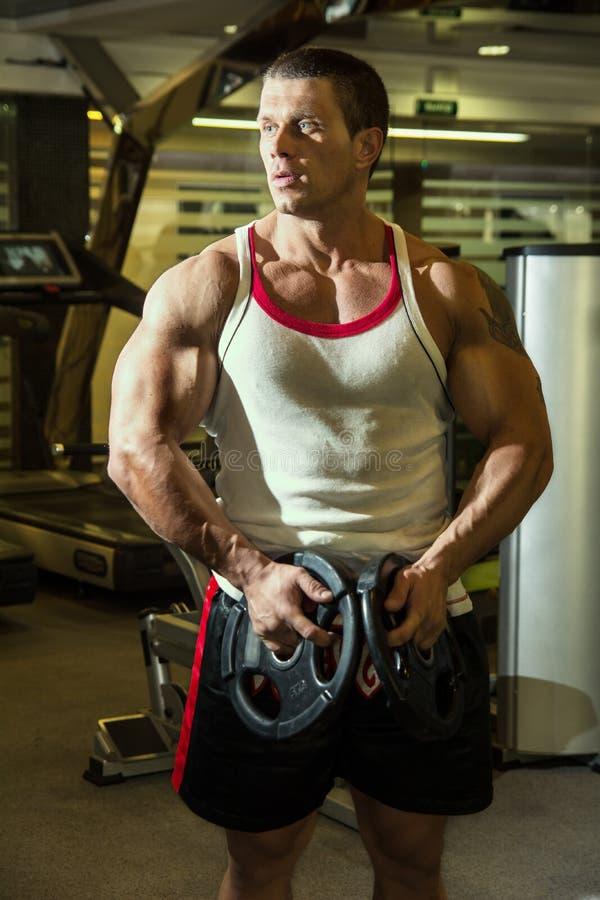 El culturista entrena a los músculos en el gimnasio Hombre de la aptitud training imágenes de archivo libres de regalías