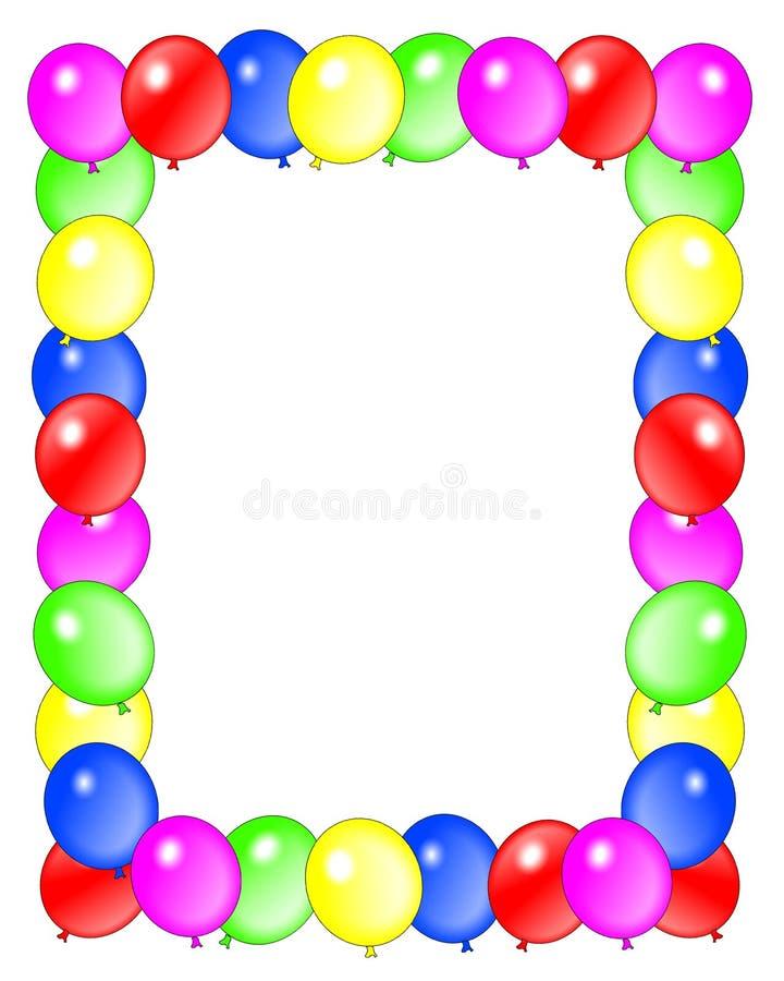 El cumpleaños hincha el marco ilustración del vector