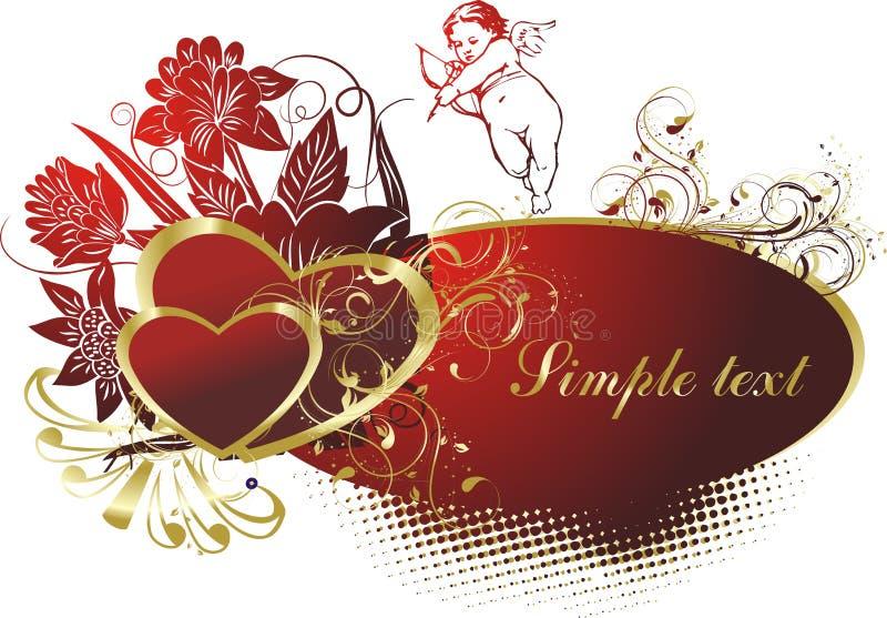 El cupid con dos corazones ilustración del vector
