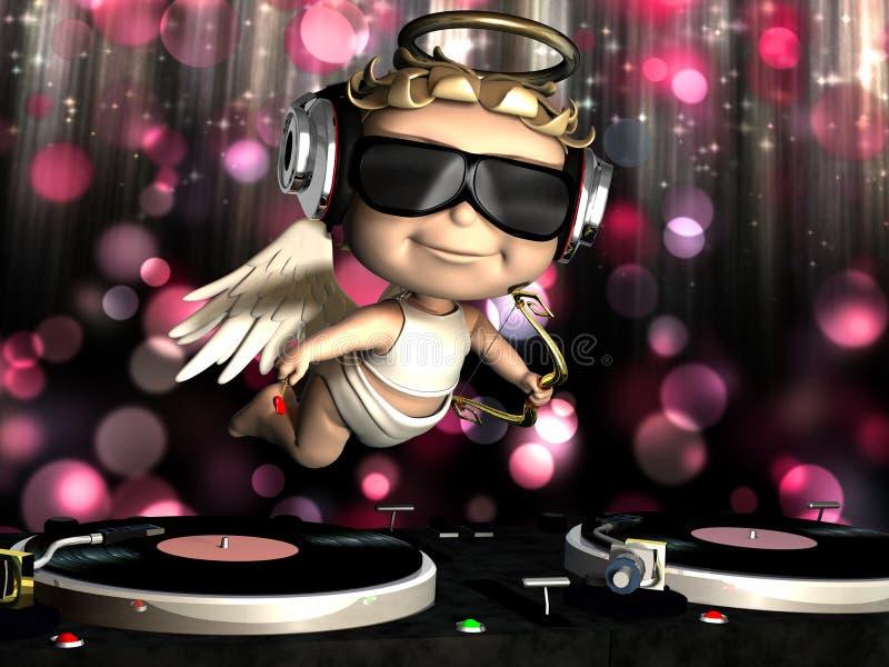El Cupid de la tarjeta del día de San Valentín está en la casa ilustración del vector