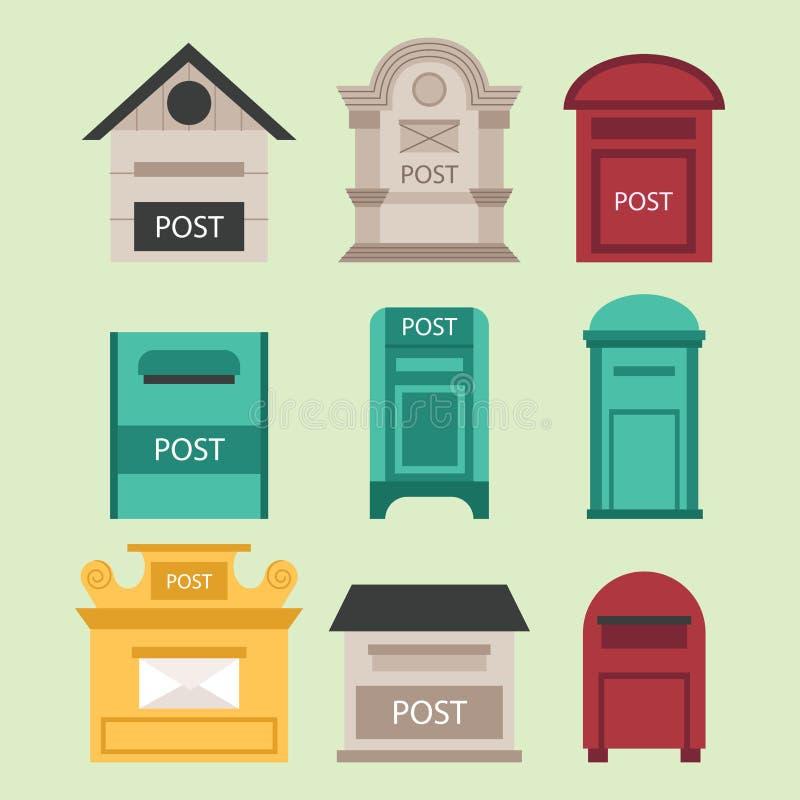 El curbside rural hermoso abierto y los buzones postales cerrados con el semáforo señalan el ejemplo del vector por medio de una  stock de ilustración