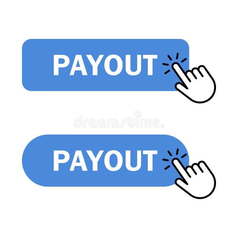 El cursor de la mano hace clic el botón del desembolso libre illustration