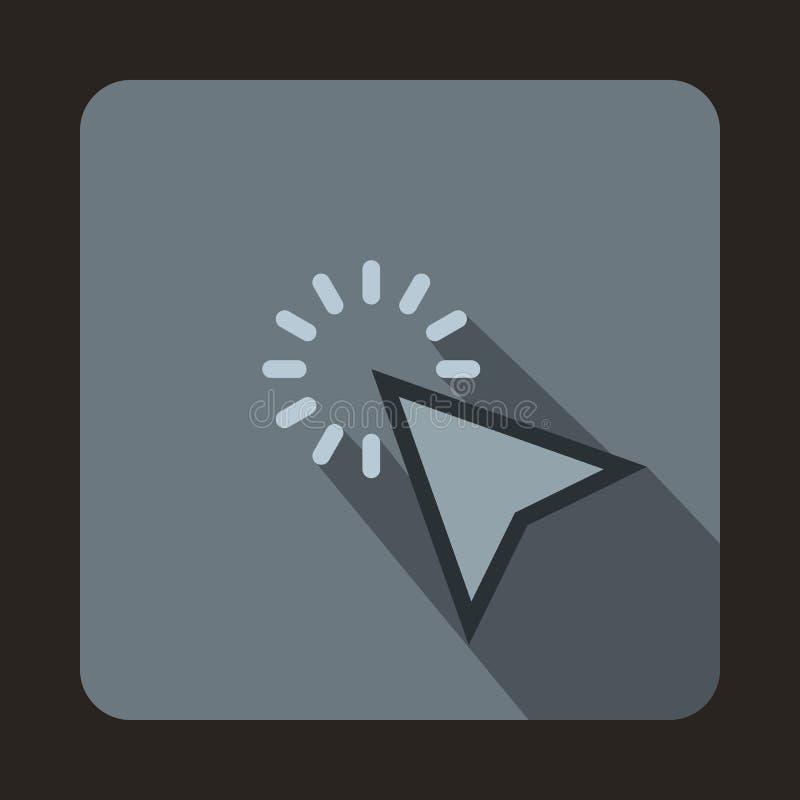 El cursor del ratón está sobre el icono del objeto, estilo plano stock de ilustración