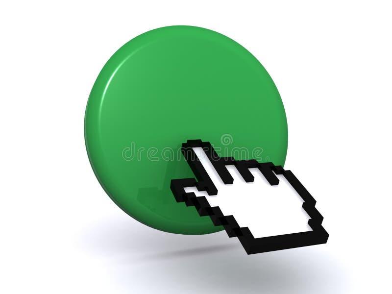 El cursor entrega el botón verde fotografía de archivo libre de regalías