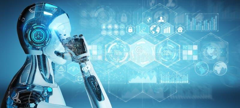 El cyborg masculino blanco que usa datos digitales interconecta la representación 3D libre illustration