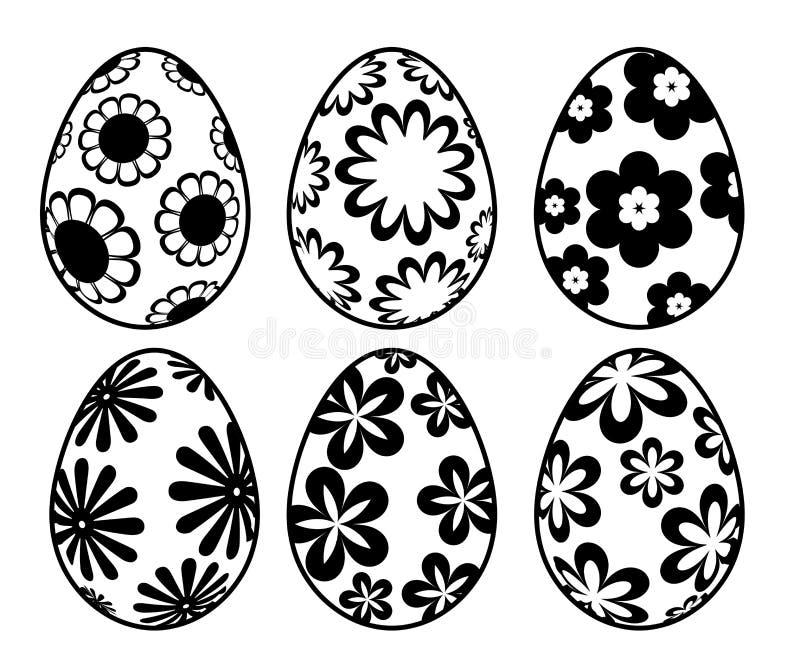 El día blanco y negro de seises Pascua Eggs floral stock de ilustración