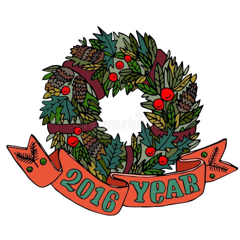 El día de fiesta del muérdago de la Navidad y del Año Nuevo enrruella con los topetones y las bayas del pino Diseño de la histori stock de ilustración