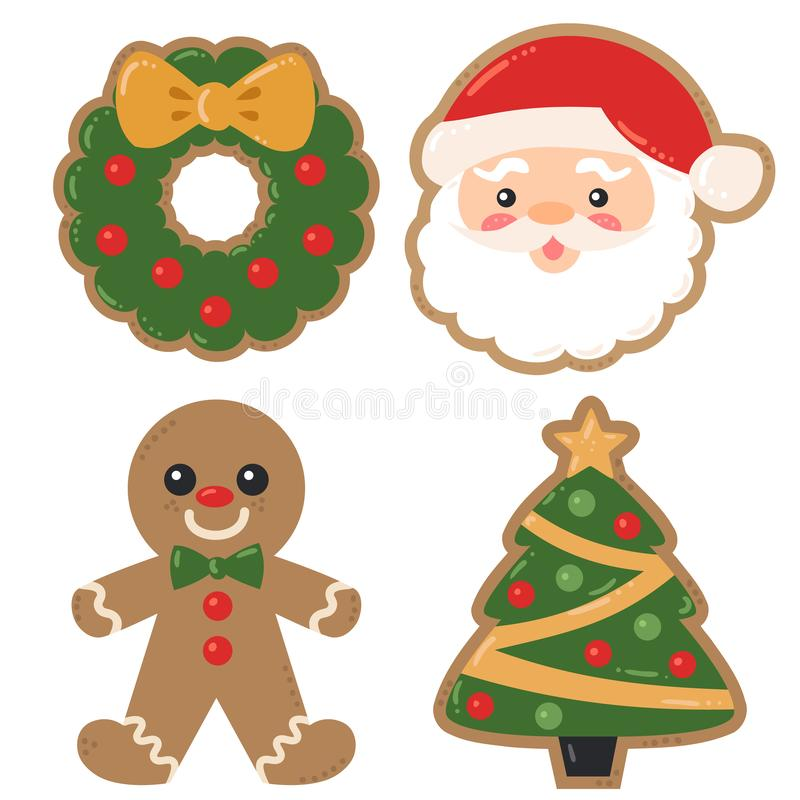 El día de fiesta de la Navidad del vector adornó ejemplos de la Navidad de las galletas libre illustration