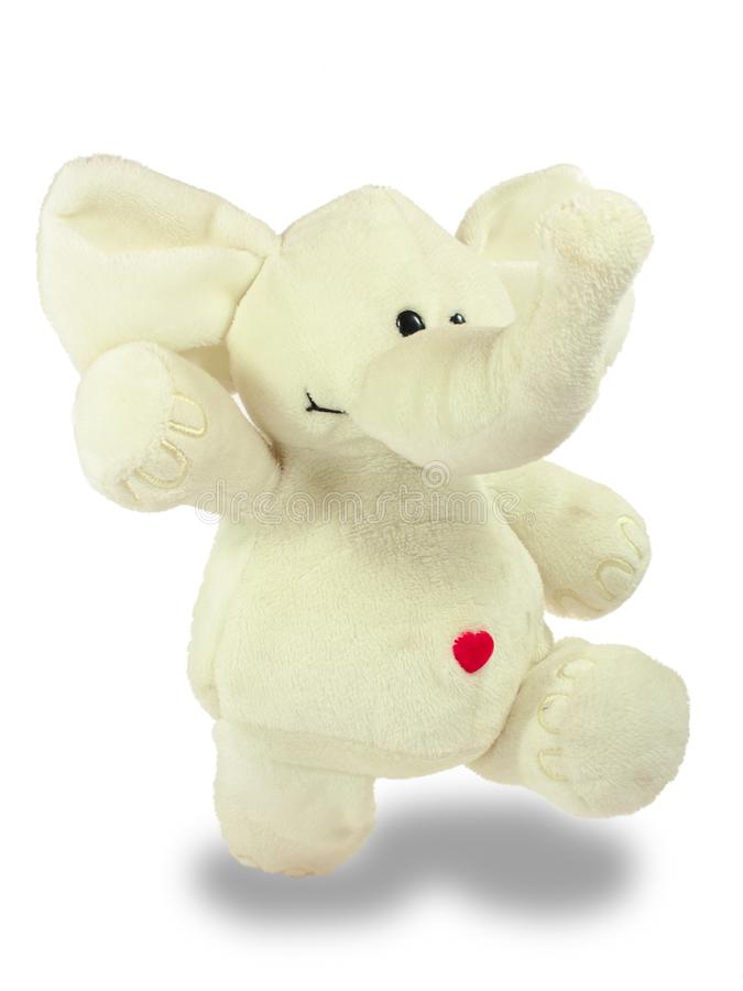 El día de fiesta de la tarjeta del día de San Valentín, corazón rojo, elefante blanco de la felpa, camina fotografía de archivo libre de regalías