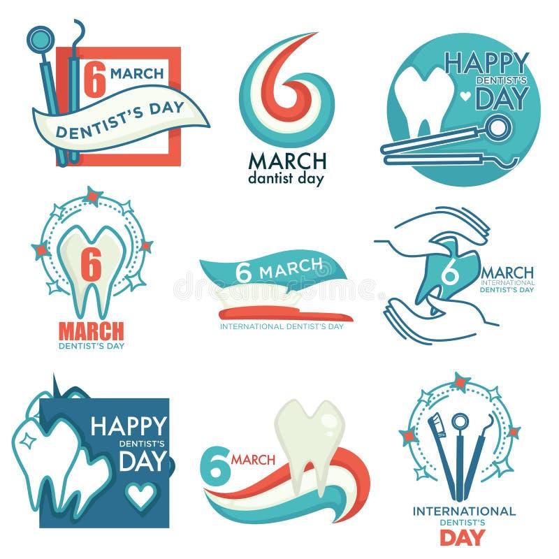 El día de fiesta médico profesional del día del dentista aisló iconos ilustración del vector