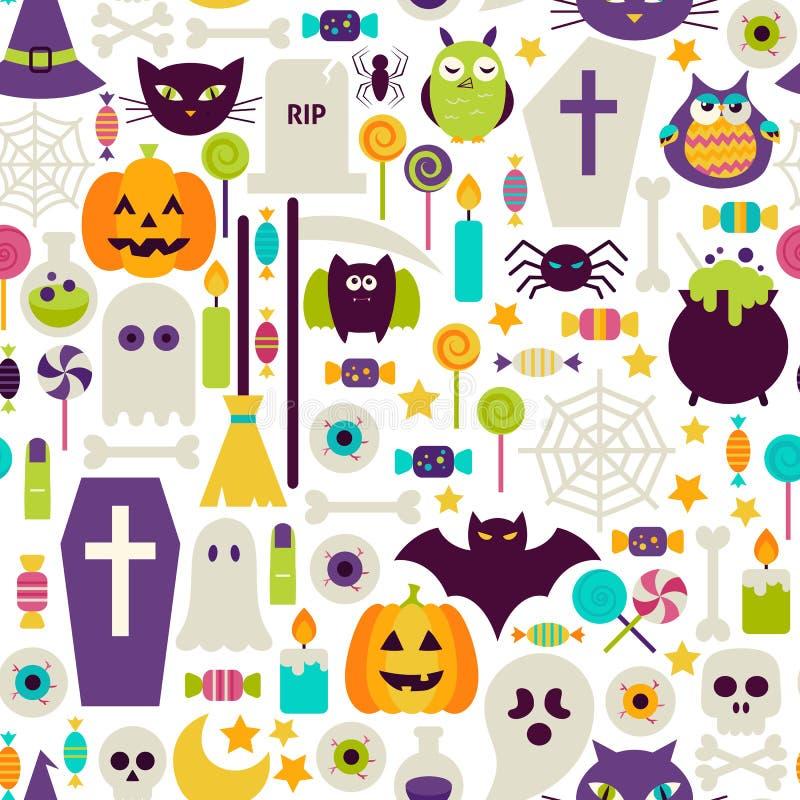 El día de fiesta plano de Halloween se opone el modelo inconsútil libre illustration