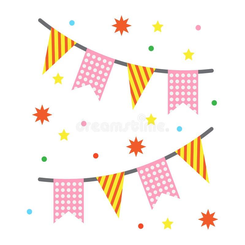 El día de fiesta señala el icono plano de las guirnaldas por medio de una bandera, Año Nuevo ilustración del vector