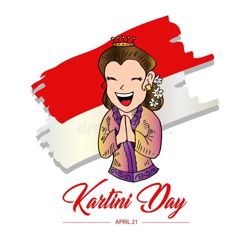 El día de Kartini feliz libre illustration