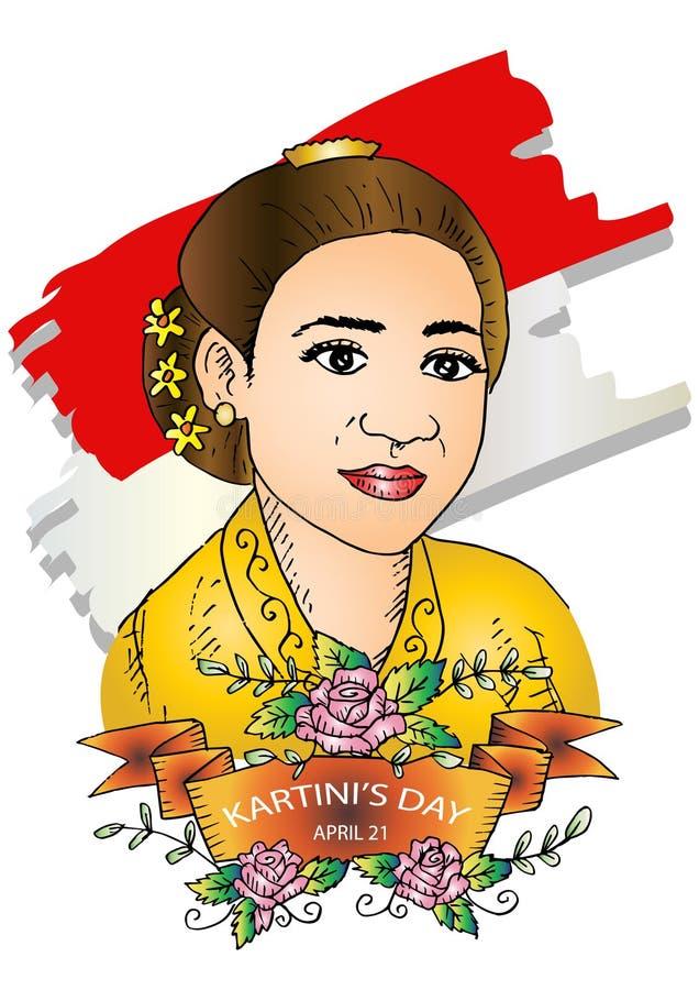 El día de Kartini feliz ilustración del vector