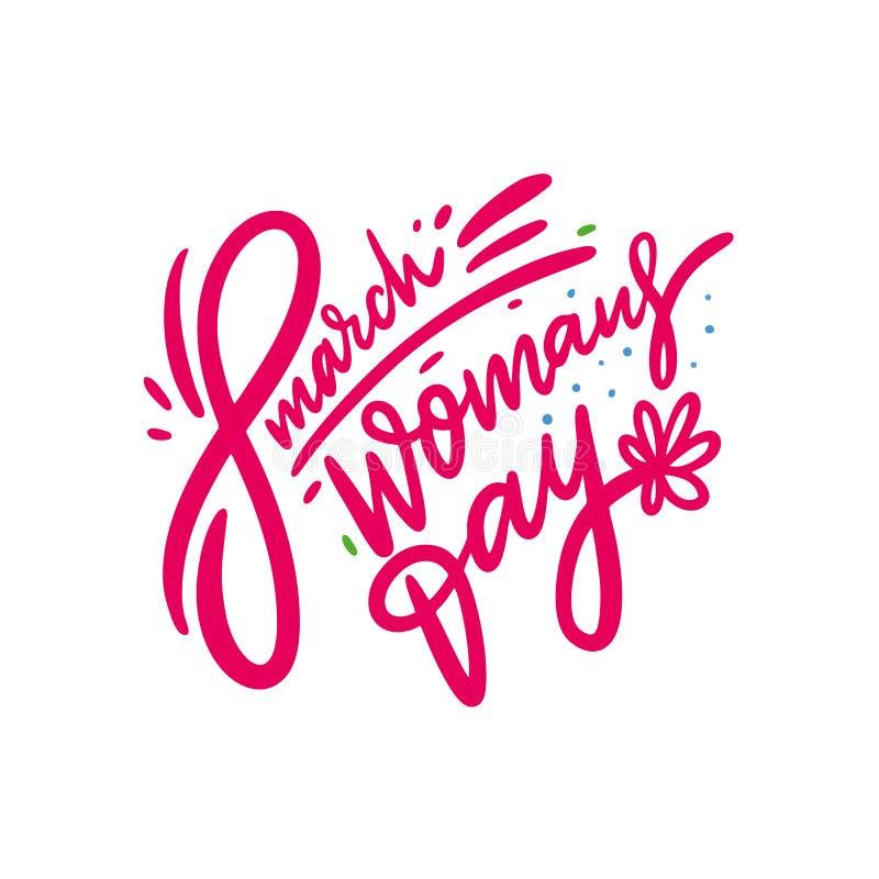 El día de la mujer feliz Ejemplo y letras exhaustos del vector de la mano Estilo de la historieta Aislado en el fondo blanco libre illustration