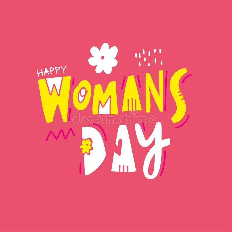 El día de la mujer feliz Ejemplo y letras exhaustos del vector de la mano Estilo de la historieta Aislado en fondo rosado libre illustration