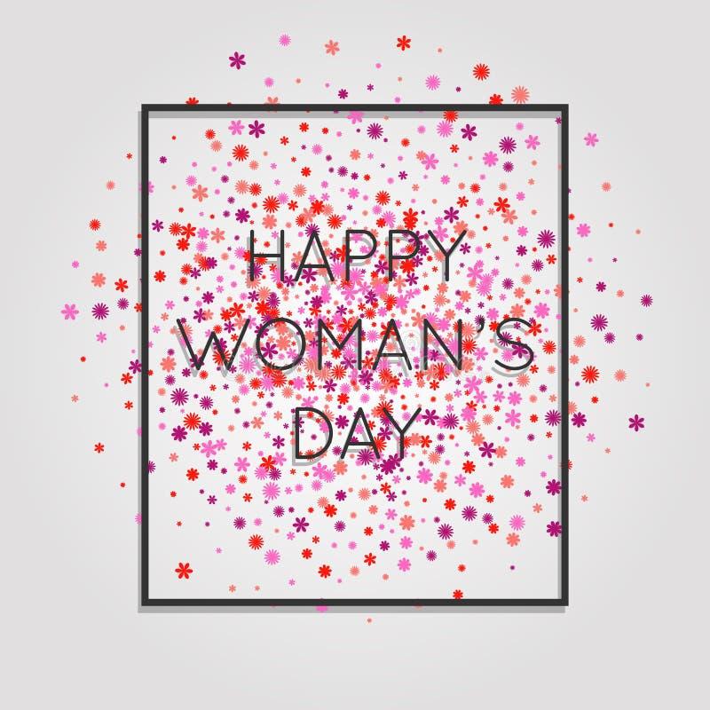 ¡El día de la mujer feliz! La tarjeta oscura de la cubierta con palabras en un marco y un rosa florece el fondo ilustración del vector