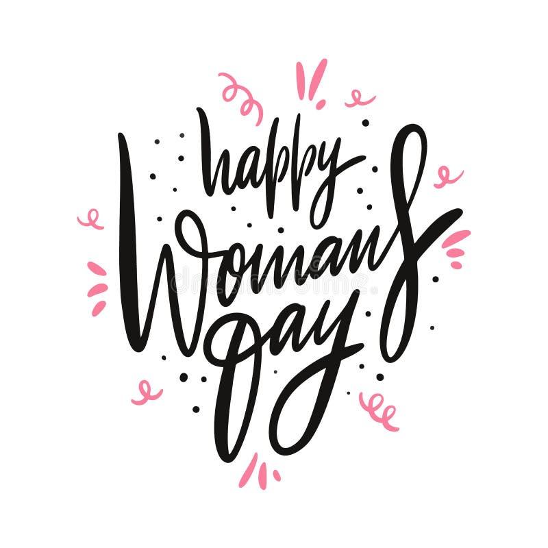 El día de la mujer feliz Letras dibujadas mano del vector Aislado en el fondo blanco stock de ilustración