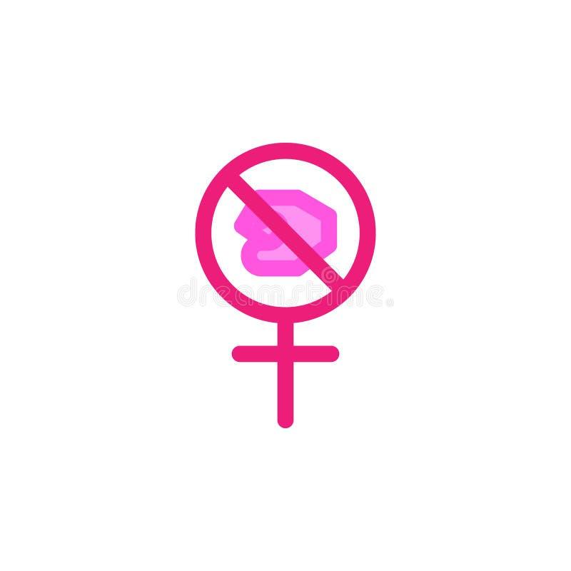 El día de la mujer, para el icono de la violencia Elemento del icono del día de la mujer del color Icono superior del diseño gráf ilustración del vector