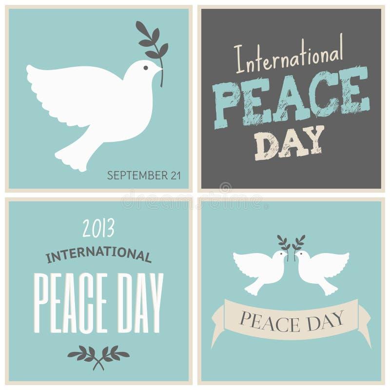 El día de la paz carda la colección ilustración del vector