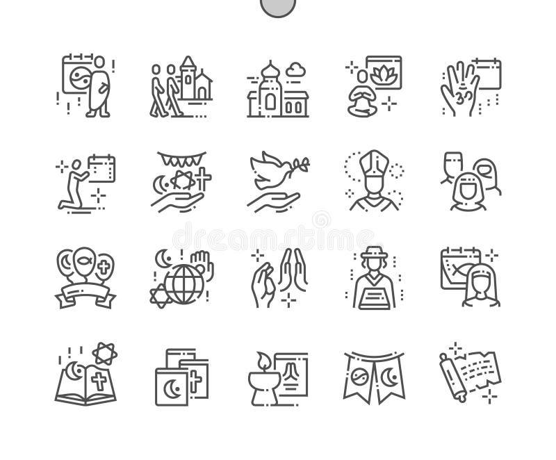 El día de la religión del mundo Bien-hizo la línea fina rejilla 2x de los iconos 30 del vector a mano perfecto del pixel para los ilustración del vector