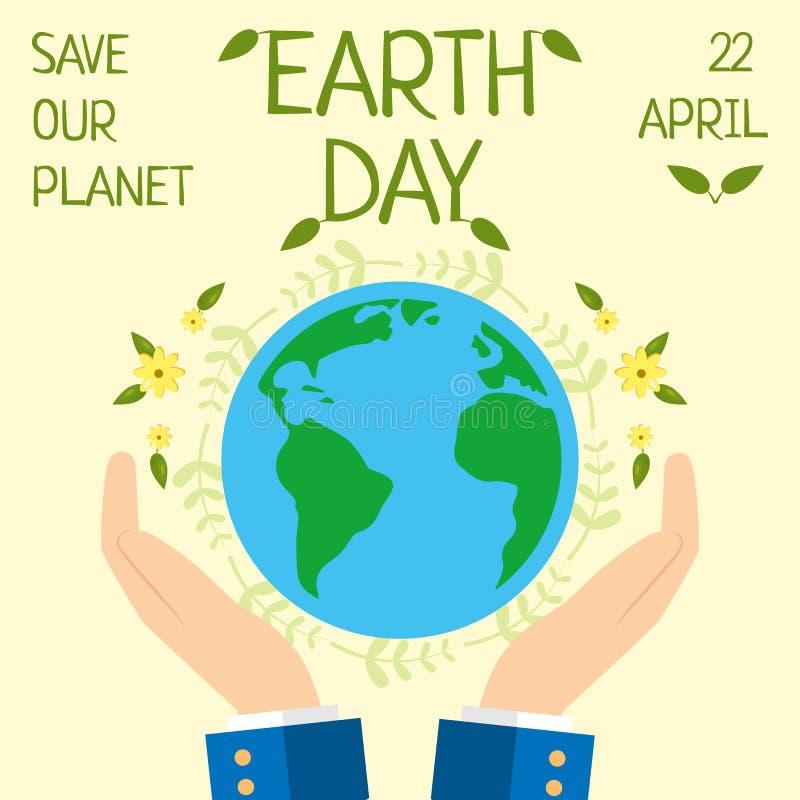 El Día de la Tierra, el 22 de abril, ahorra nuestro planeta ilustración del vector