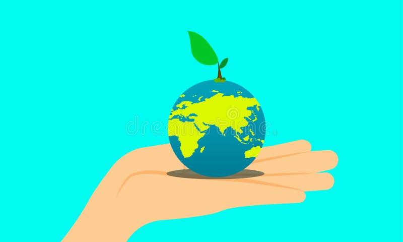 El Día de la Tierra mano que sostiene el planeta y el pequeño árbol del héroe en el top plantemos un árbol para el futuro de su n ilustración del vector