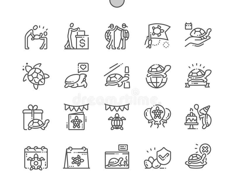 El d?a de la tortuga del mundo Bien-hizo la l?nea fina rejilla 2x de los iconos 30 del vector a mano perfecto del pixel para los  ilustración del vector