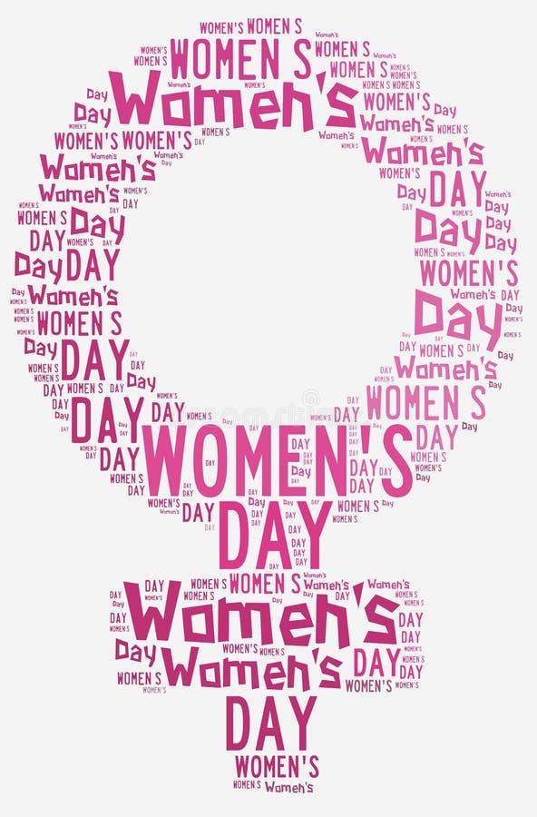 El día de las mujeres del diseño gráfico se relacionó en forma del símbolo femenino stock de ilustración
