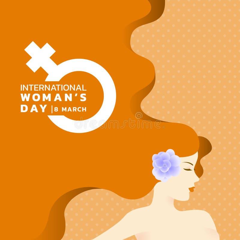 El día de las mujeres internacionales con diseño largo del vector de la bandera de la muestra del oído y de la mujer de la flor d libre illustration