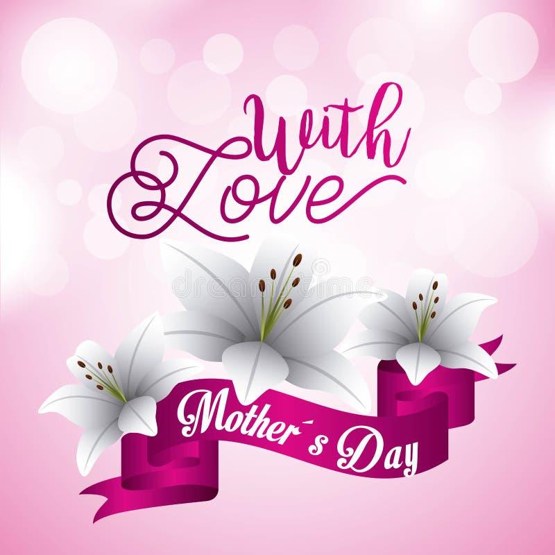 El día de madres con las flores del lirio del amor empaña el fondo rosado de los círculos stock de ilustración
