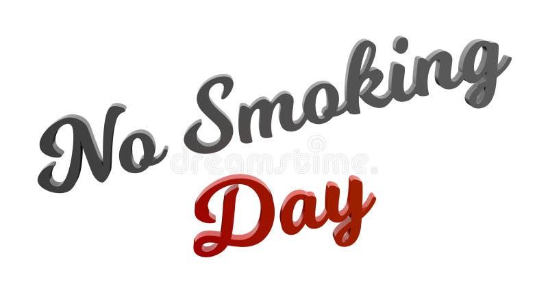 El día de no fumadores 3D caligráfico rindió el ejemplo del texto coloreado con Gray And Red-Orange Gradient stock de ilustración