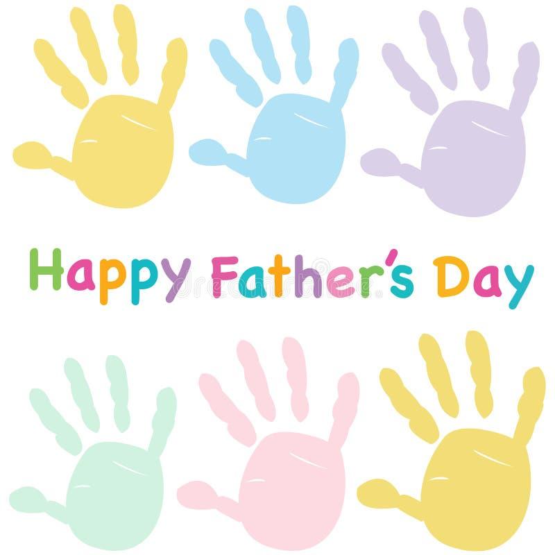 El día de padre feliz embroma la tarjeta de felicitación colorida del handprint ilustración del vector