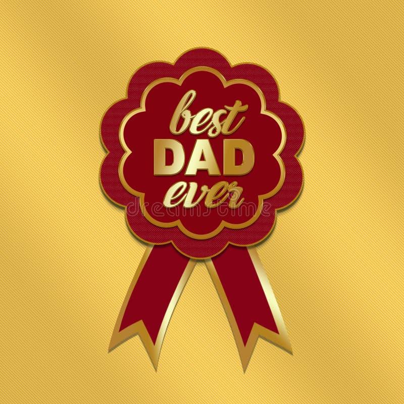 El día de padre de oro con la escarapela ilustración del vector