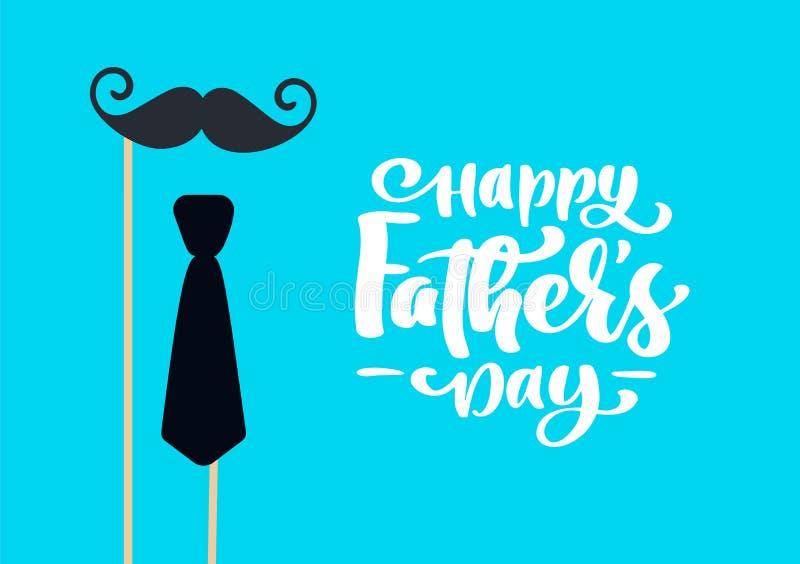 El día de padres feliz aisló el vector que ponía letras al texto caligráfico con el bigote y el lazo Caligrafía exhausta de Day d ilustración del vector