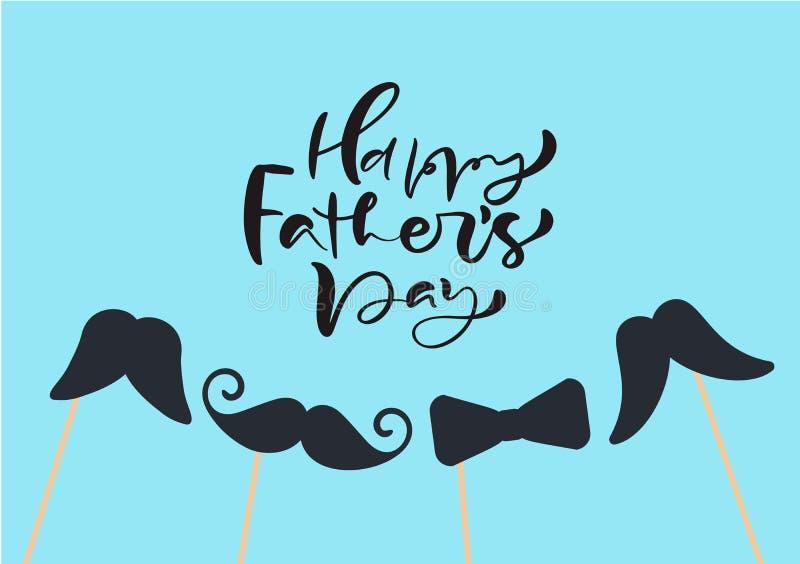El día de padres feliz aisló el vector que ponía letras al texto caligráfico con los bigotes y el lazo Caligrafía exhausta de Day stock de ilustración
