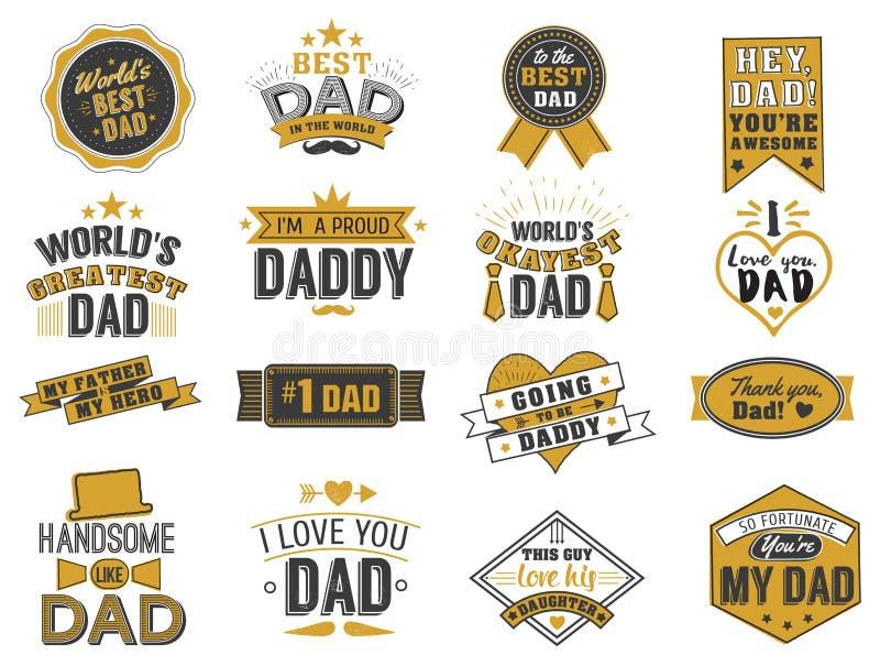 El día de padres feliz aislado cita en el fondo blanco Oro y etiqueta negra, vector de la enhorabuena del papá de la insignia stock de ilustración