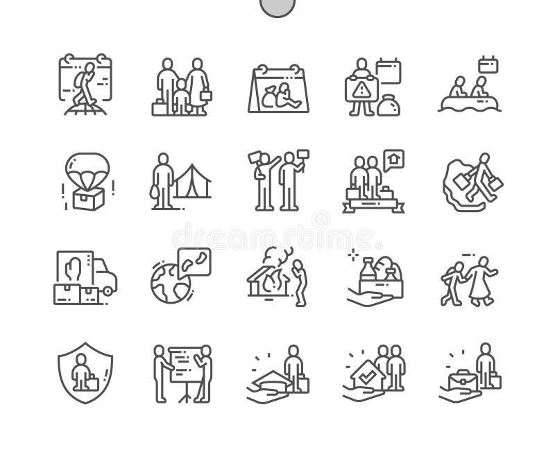 El día de refugiado de mundo Bien-hizo la línea fina rejilla 2x de los iconos 30 del vector a mano perfecto del pixel para los gr libre illustration