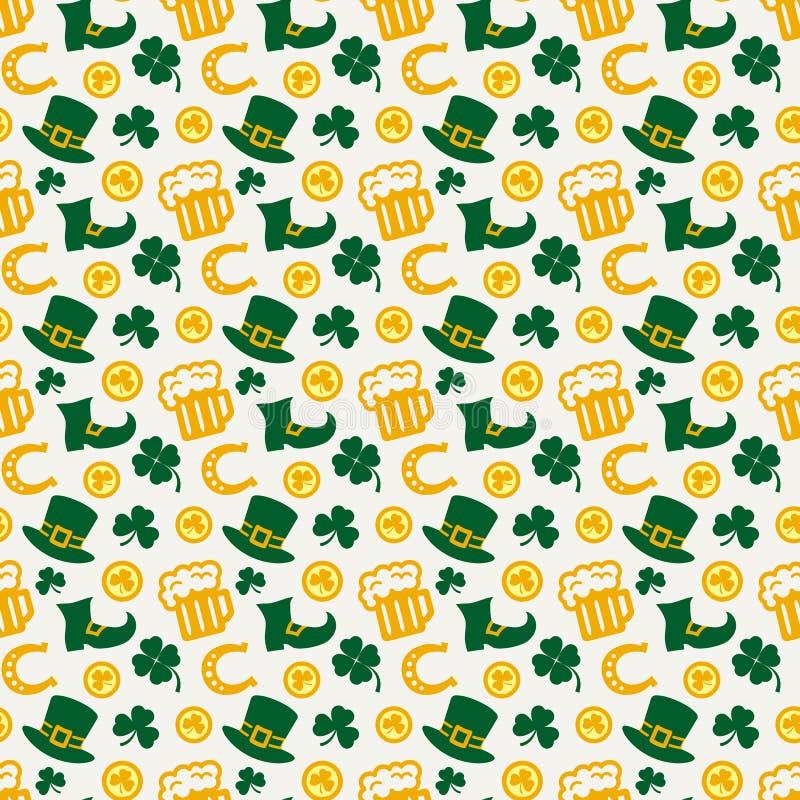 ¡El día de St Patrick feliz! Modelo inconsútil del vector stock de ilustración