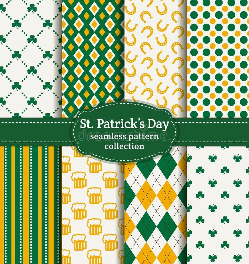 ¡El día de St Patrick feliz! Sistema de modelos inconsútiles del vector stock de ilustración